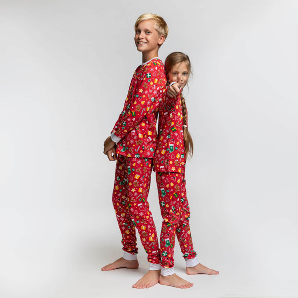Enfants rouge Ensemble pyjama de Noël Christmas Pajamas Kids SillySanta