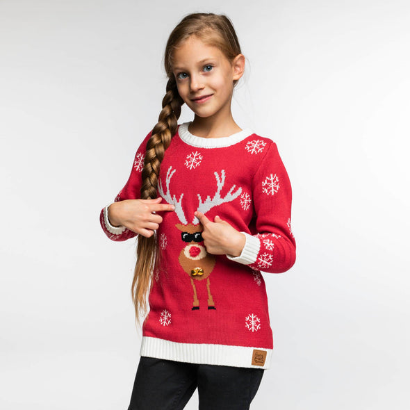 Enfants rouge Make it Rein Red Pull de Noël Christmas Sweater Kids SillySanta