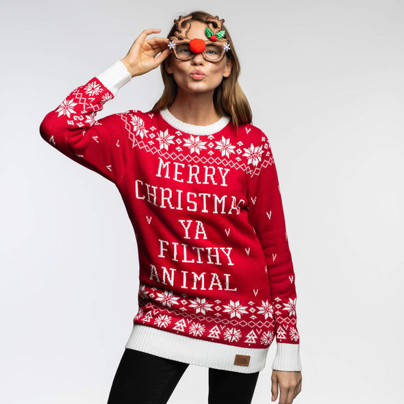 Femmes rouge Filthy Animal Pull de Noël Christmas Sweater Womens SillySanta