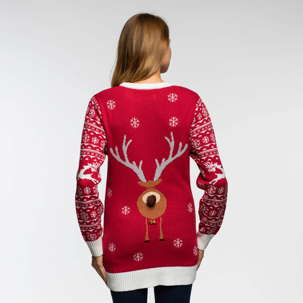 Femmes rouge Make it Rein Red Pull de Noël Christmas Sweater Womens SillySanta