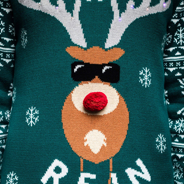Hommes vert Make it Rein Green Pull de Noël Christmas Sweater Mens SillySanta