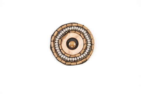Round Ethnic Wooden Bead Patch / Iron on / Garments / Purses / Home Decor - Target Trim