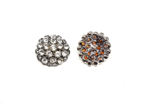 "1"" Gunmetal Rhinestone Button"