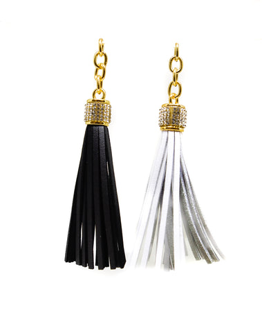 "4"" Leather Tassel with Rhinestone and Gold Accents (Black or White)"