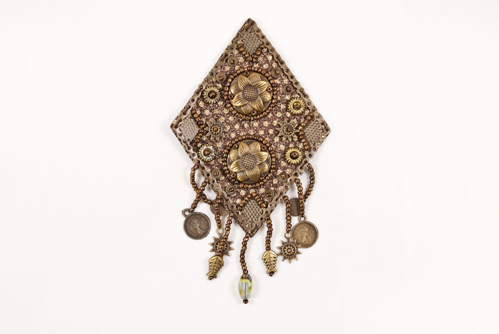 Classy Native -themed Diamond shaped Patch with Dangling fringes.