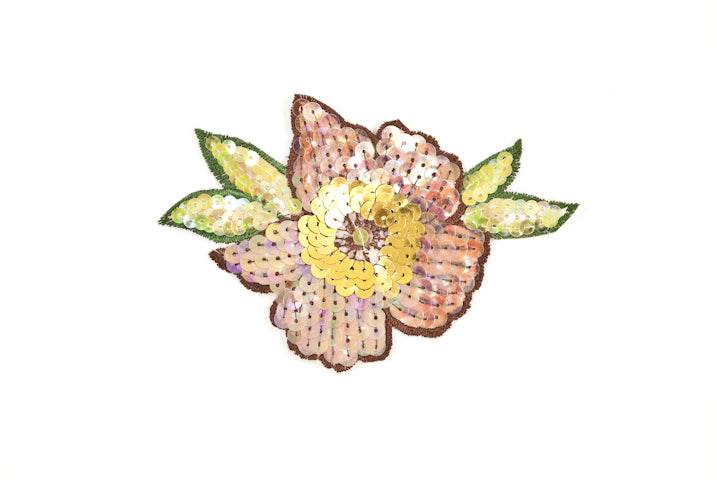 Shiny Rose Sequin Flower Iron on Embroidered Patch / Applique / Iridescent - Target Trim