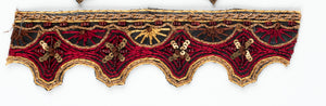 Gold, Red and Brown Handmade Indian Trim with Floral Sequins - Target Trim