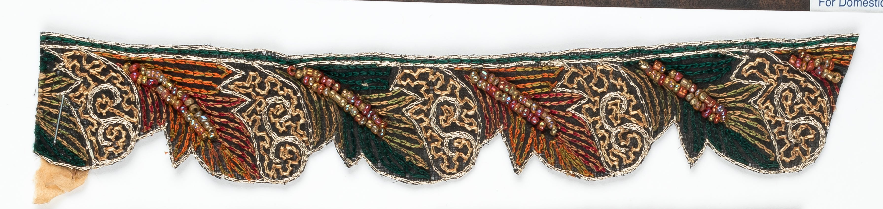 Floral Beaded Handcrafted Indian Trim WITH Fur