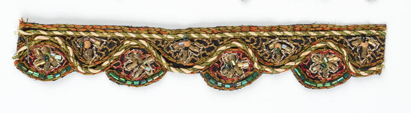 Mehndi Style Handcrafted Floral Indian Trim with Beads - Target Trim