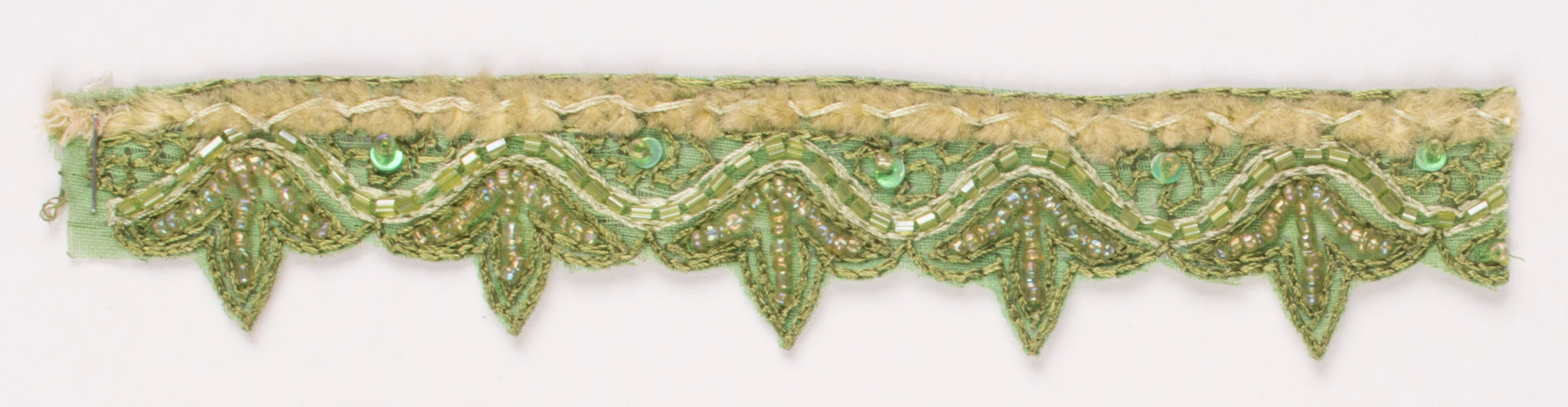 Green Handcrafted Straw Beaded and Sequins Indian Trim - Target Trim