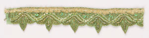 Green Handcrafted Straw Beaded and Sequins Indian Trim