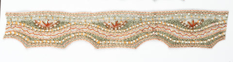 Wavy Mint Green beaded Handcrafted Indian Trim- Design 3 - Target Trim