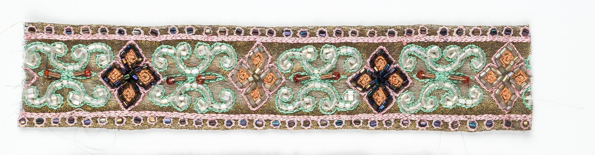 Floral Shaped Handcrafted Indian Trim with Straw Beaded Petals - Target Trim