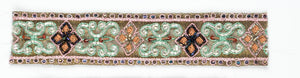 Floral Shaped Handcrafted Indian Trim with Straw Beaded Petals
