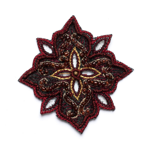 Handmade Beaded Indian Floral Patch/Applique Design 3 - Target Trim