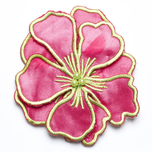 Magnolia Satin Flower w/ layered petals and Embroidery Accent  / Sew on / Decorative