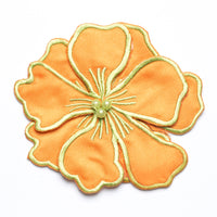 Magnolia Satin Flower applique with Embroidery Accent - Target Trim