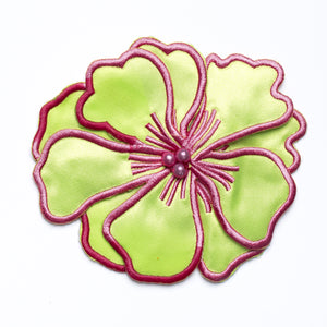 Magnolia Satin Flower w/ layered petals and Embroidery Accent  / Sew on / Decorative - Target Trim