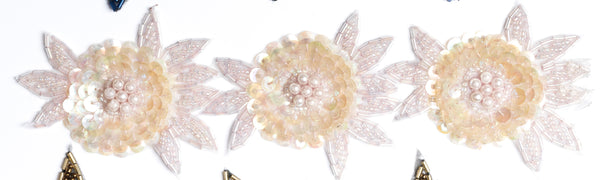 Shiny Sequins Floral Design Trim Sew on  / Best for Clothing & All types of Decorations - Target Trim