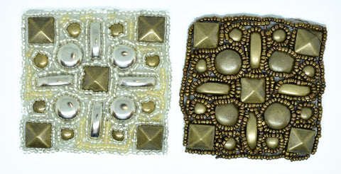 "2.5"" x 2.5"" Antique Square Studs Iron on Patch"