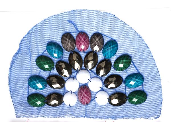 "8"" x 5.5"" Half-dome Medium size applique on Mesh Fabric with Assorted Decorative Plastic Gems"