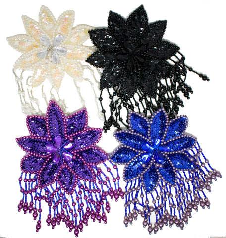 "7.3 "" x 5"" Ten-petaled Flower Beaded Sequins with 5 clustered fringe, Sew-on Applique"