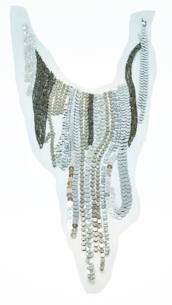 "20"" x 8.5"" Fabulously design Applique / Neckline Collar  with Beads & Sequins"