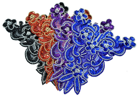 "7.5"" x 9.5"" Sequins/Beaded Applique with Silver/Gold Accent"