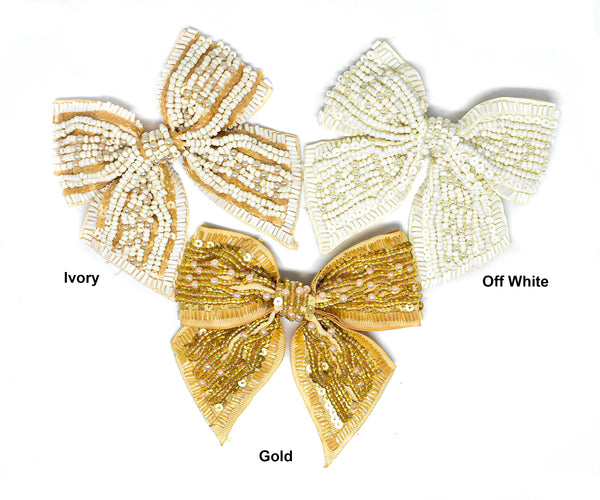"4"" Sequins and Bugle Beaded Bow Ties"