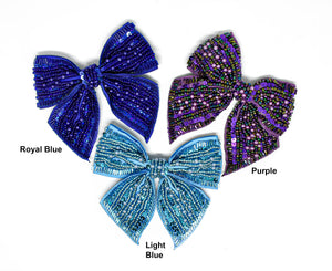 """10  LARGE HOT PINK SEQUINED BEADED BUTTERFLY MOTIFS APPLIQUES 7/"""" x 5/"""""""