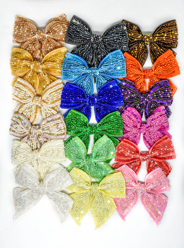 "Sequins and Bugle Beaded Bow Ties 4"" - 1 Piece"
