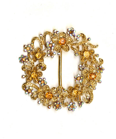 "3""x 3"" Gold Wreath Flower Design Ribbon Slider"