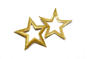 "Embroidered Gold Iron on Star Patch Applique 3.30"" x 3.50"" - 1 Piece"
