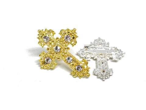 "2 1/2"" Crystal Rhinestone Cross-Shaped Brooch with Pin"