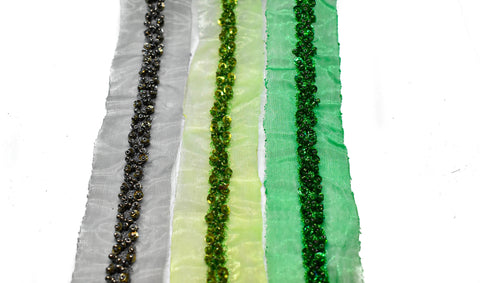 "Sequins and Beaded Organza Trim 1 1/2"" - 1 Yard"