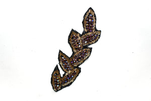 "Leaf Rhinestone Beaded Applique 6.25"" x 2"" - 1 Piece"