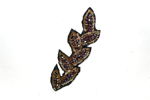 "6 1/4"" x 2'' Leaf Rhinestone Beaded Applique"