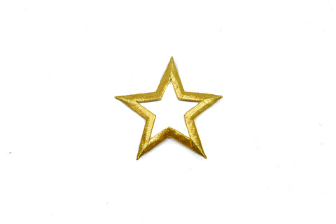 "3.3"" x 3.5"" Embroidered Golden Star Iron on Patch Applique- Star Applique with hollow center"