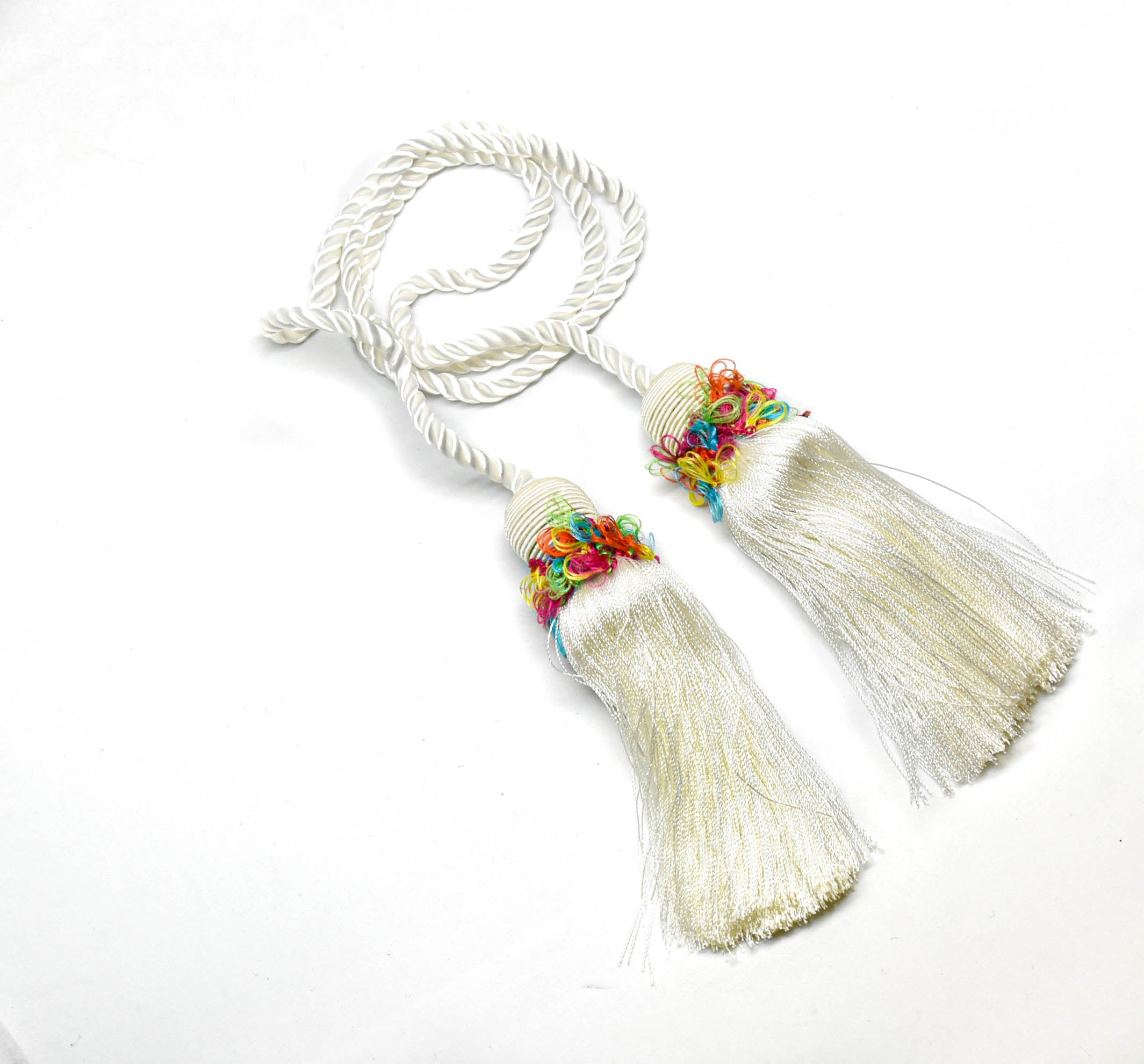 White Tassels with Multicolor Details (2 Pieces) 5""