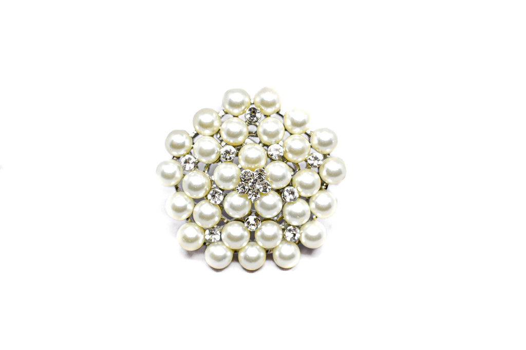 "Silver Pearl Brooch Pin with Crystal Flowers 1.75"" - 1 Piece"