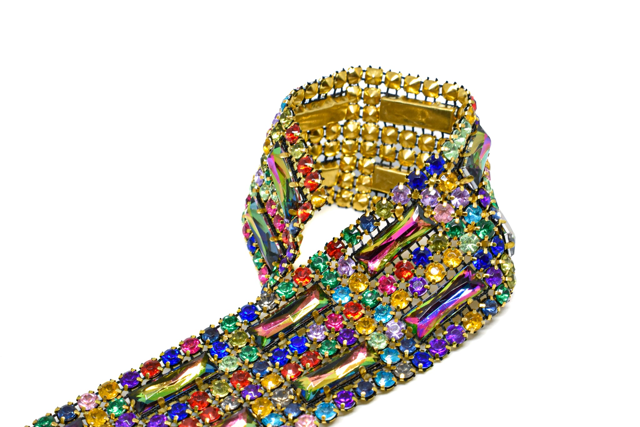 "1.5"" Multi-Color Rhinestone Trim with Gold Cupping"