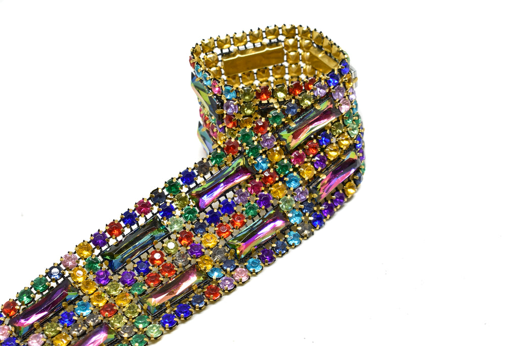 "Multi-Color Rhinestone Trim with Gold Cupping 1.5"" - 1 Yard"