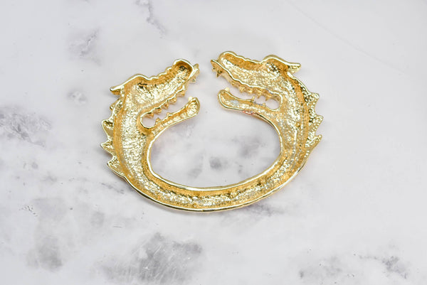 "Gold Dragon Head Rhinestone Buckle 5.75"" x 3.50"" - 1 Piece"
