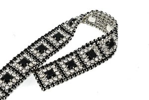 "1"" Black and Clear Rhinestone Trim with Silver Cupping"