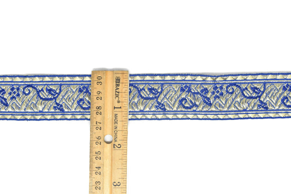 "1 1/4"" Floral Metallic Jacquard Ribbon"