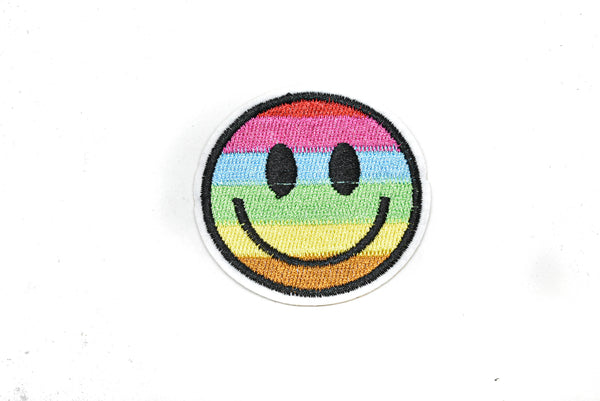 "2"" Embroidered Rainbow Smiley Face Iron-On Patch"