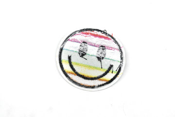 "Embroidered Rainbow Smiley Face Iron-On Patch 2"" - 1 Piece"