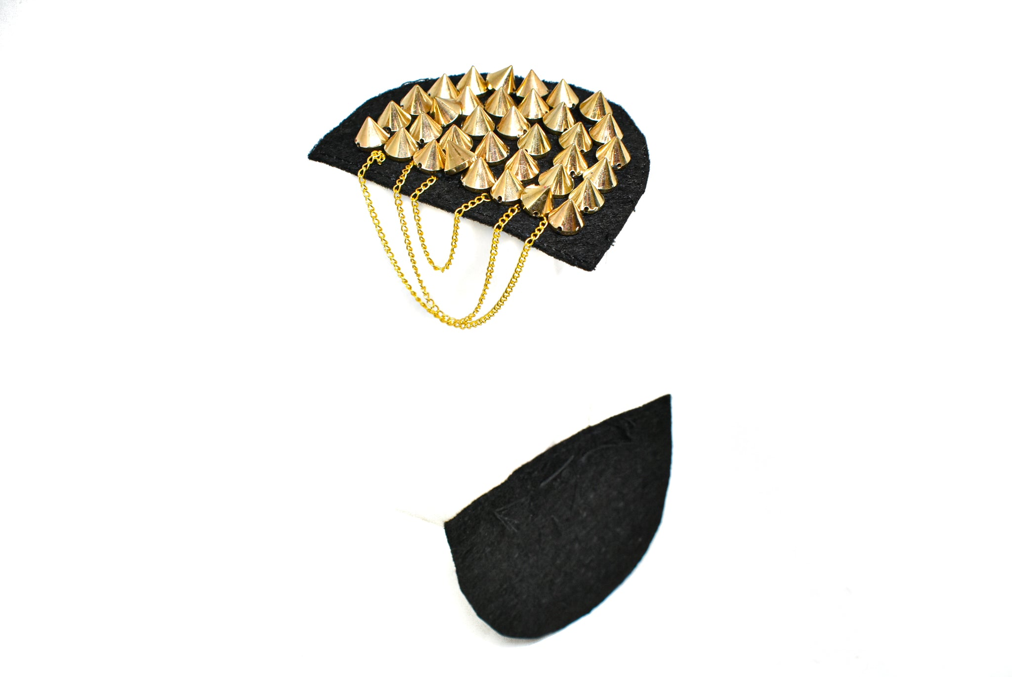 Gold Studded Shoulder Epaulet with Dangling Chains