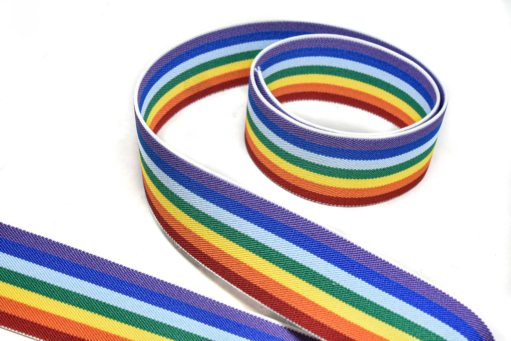 "Rainbow Jacquard Woven Elastic- Stretchy Rainbow Trim 2"" - 1 Yard"