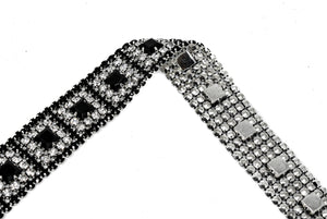 "Black/Clear Rhinestone Trim with Silver Cupping 1"" - 1 Yard"